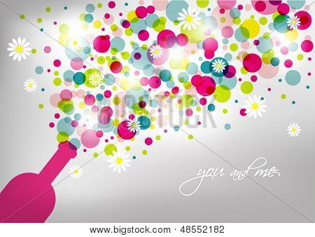 Wedding and invitation card. Champagne bottle with bubbles. Abstract background.