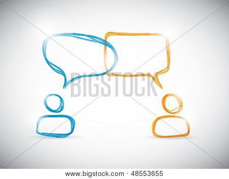 Hand-drawn social media discussion group. Vector illustration.