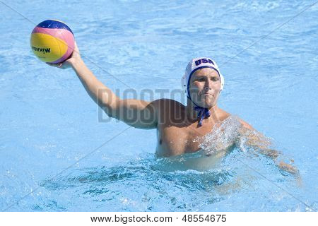 Jul 28 2009; Rome Italy; USA team player Jesse Smith scores a goal competing in the mens waterpolo quarterfinal match between USA and Germany at the 13th Fina World Aquatics Championships