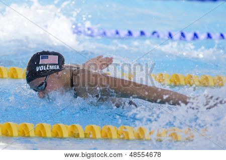 Jul 26 2009; Rome Italy; Dana Vollmer (USA) competing in the womens 100m butterfly semi finals at the 13th Fina World Aquatics Championships held in the The Foro Italico Swimming Complex.