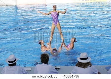 Jul 24 2009; Rome Italy; Team Belarus competing in the preliminary round of the women's team synchronised swimming at the 13th Fina World Aquatics Championships