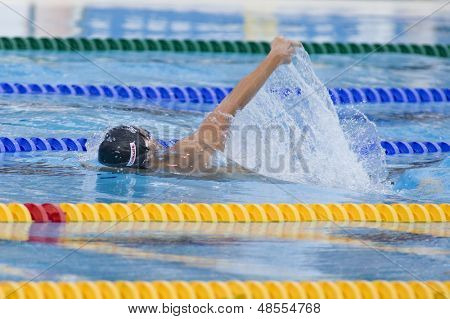 Jul 02 2009; Rome Italy; Aaron Piersol (USA) competing in the mens 4 x 100m medley final at the 13th Fina World Aquatics Championships held in the The Foro Italico Swimming Complex.