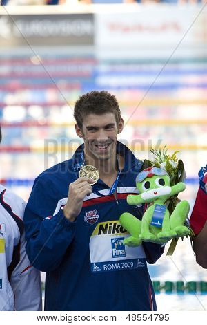 Jul 29 2009; Rome Italy; Michael Phelps (USA) during the medal ceremony for the mens 200m butterfly, at the 13th Fina World Aquatics Championships held in the The Foro Italico Swimming Complex.