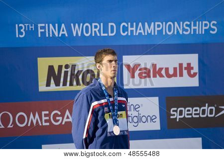 Jul 28 2009; Rome Italy; Michael Phelps silver medal winner during the medal ceremony for the mens 200m freestyle at the 13th Fina World Aquatics Championships