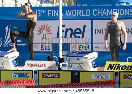 Jul 28 2009; Rome Italy; Michael Phelps (USA) left, and Paul Biedermann (GER) right, before the start of the mens 200m freestyle final at the 13th Fina World Aquatics Championships