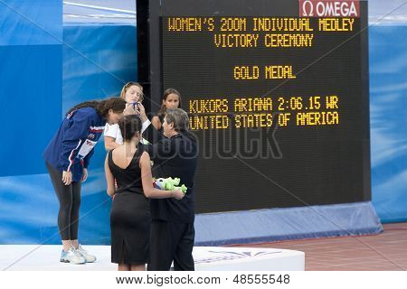 Jul 27 2009; Rome Italy; Ariana Kukors recieves her gold medal for winning the  at the prize giving ceremony for the 200m individual medley event  at the 13th Fina World Aquatics Championships
