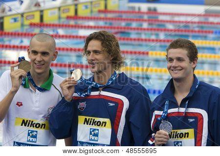 Jul 02 2009; Rome Italy; Laszlo Cseh (HUN) Ryan Lochte (USA) Scott Clary (USA) in the mens 400m individual medley at the 13th Fina World Aquatics Championships held inThe Foro Italico Swimming Complex