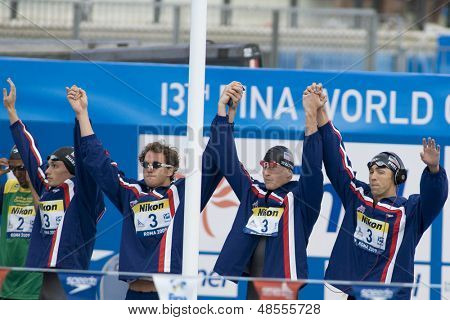 Jul 02 2009; Rome Italy; Team USA competing in the mens 4 x 100m medley final at the 13th Fina World Aquatics Championships held in the The Foro Italico Swimming Complex.