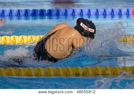 Jul 01 2009; Rome Italy; Kasey Carlson (USA) competing in the semi final of the womens 50m breaststroke at the 13th Fina World Aquatics Championships held in the The Foro Italico Swimming Complex.