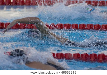 Jul 29 2009; Rome Italy;  Allison Schmitt (USA) on her way to winning the silver medal in the womens 200m freestyle final at the 13th Fina World Aquatics Championships