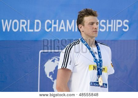 Jul 28 2009; Rome Italy; Paul Biedermann (GER) gold medal winner for the mens 200m freestyle having won in a world record time of 1.42.00, at the 13th Fina World Aquatics Championships