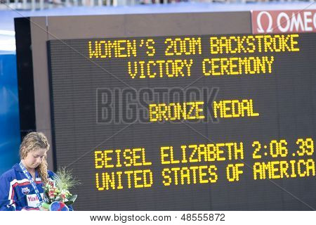 Jul 01 2009; Rome Italy; Elizabeth Beisel (USA) during the medal ceremony for the womens 200m backstroke at the 13th Fina World Aquatics Championships held in the The Foro Italico Swimming Complex.