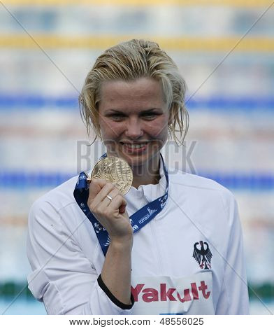 Jul 31 2009; Rome Italy; Britta Steffen (GER) gold medal winner in the womens 100m freestyle at the 13th Fina World Aquatics Championships held in the The Foro Italico Swimming Complex.