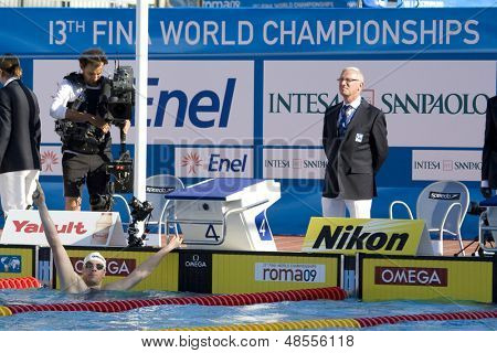 Jul 28 2009; Rome Italy; Paul Biedermann (GER) reacts after winning  the mens 200m freestyle final in a new world record time of 1.42.00, at the 13th Fina World Aquatics Championships