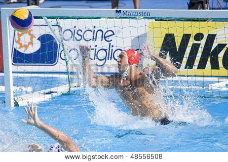 Jul 28 2009; Rome Italy; USA team player Merrill Moses watches the ball miss his goal during the mens waterpolo quarterfinal match between USA and Germany at the 13th Fina World Aquatics Championships