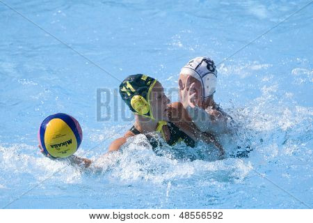 Jul 23 2009; Rome Italy; Melissa Rippon (AUS) and Anna Sieprath (NZL) white cap competing in the women's waterpolo match between Australia and New Zealand in the 13th Fina World Aquatics Championships