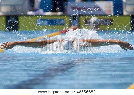 Jul 02 2009; Rome Italy; Tyler McGill (USA) competing in the qualification rounds of the mens 4 x 100m medley at the 13th Fina World Aquatics Championships held in  The Foro Italico Swimming Complex.