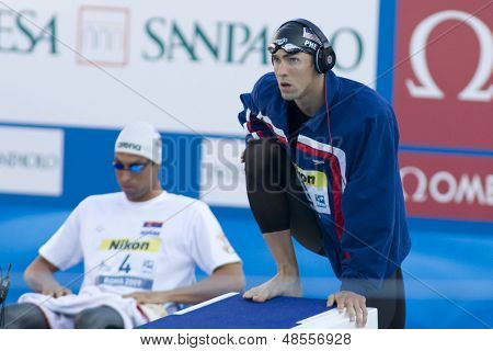 Jul 01 2009; Rome Italy; Michael Phelps competing in the mens 100m butterfly  at the 13th Fina World Aquatics Championships held in the The Foro Italico Swimming Complex.