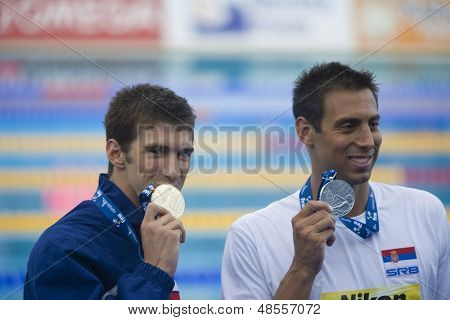 Jul 01 2009; Rome Italy; Michael Phelps (USA)  and Milorad Cavic (SRB)  at the 13th Fina World Aquatics Championships held in the The Foro Italico Swimming Complex.