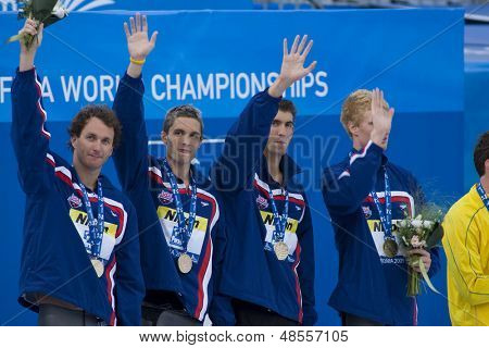Jul 02 2009; Rome Italy; during the medal ceremony for  the mens 4 x 100m medley final at the 13th Fina World Aquatics Championships held in the The Foro Italico Swimming Complex.