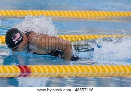 Jul 31 2009; Rome Italy; Tyler McGill (USA) competing in the mens 100m butterfly semi final, at the 13th Fina World Aquatics Championships held in the The Foro Italico Swimming Complex.