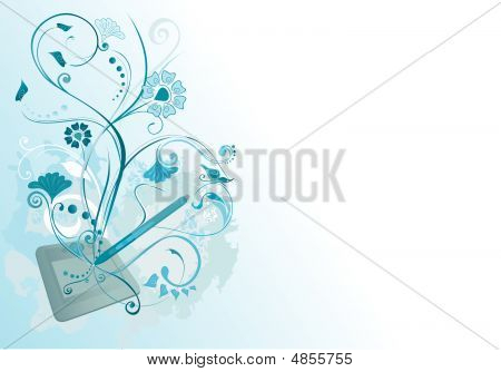 Blue Tablet And Flowers