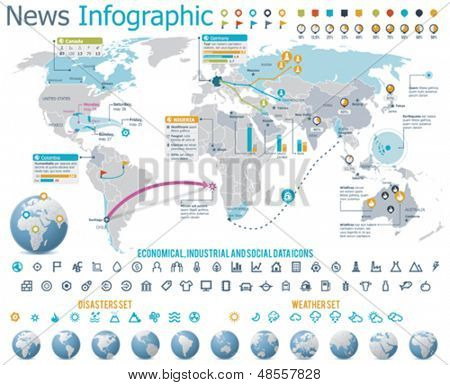 Elements for news infographic with map