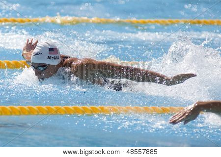 Jul 31 2009; Rome Italy; Tyler McGill (USA) competing in qualification round of the mens 100m butterfly at the 13th Fina World Aquatics Championships held in the The Foro Italico Swimming Complex.
