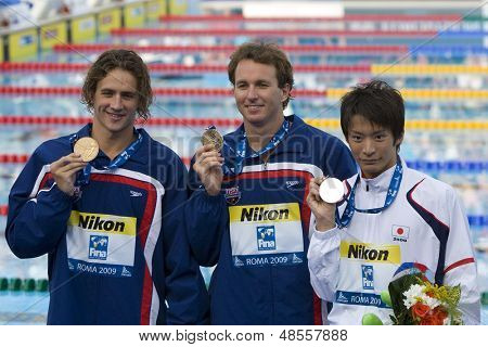 Jul 31 2009; Rome Italy; Ryan Lochte (USA) left Aaron Piersol (USA) centre, and Irie Ryosuke (JPN) during the medal award ceremony for the 200m backstroke at the 13th Fina World Aquatics Championships