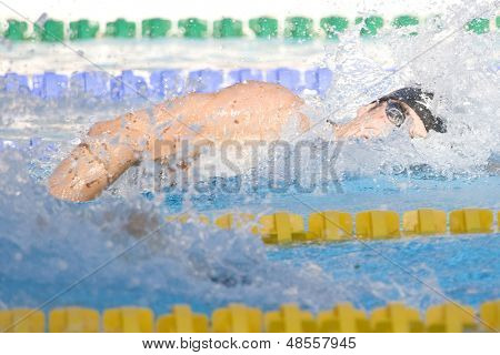 Jul 28 2009; Rome Italy; Michael Phelps (USA) competing in the mens 200m freestyle final at the 13th Fina World Aquatics Championships held in the The Foro Italico Swimming Complex.