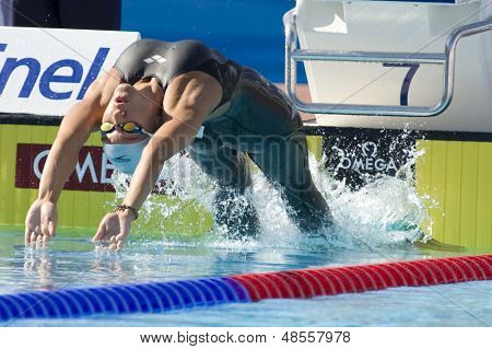 Jul 27 2009; Rome Italy; Anastaysia Prilepa (KAZ) competing in the womens 100m backstroke at the 13th Fina World Aquatics Championships held in the The Foro Italico Swimming Complex.