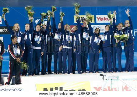 Jul 31 2009; Rome Italy;  Team USA winners of the final of the womens waterpolo tournament, USA won the match 7-6, at the 13th Fina World Aquatics Championships