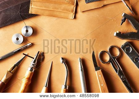 Leather crafting tools still life