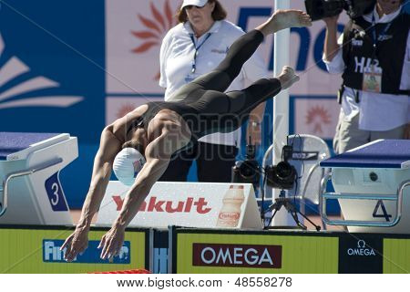 Jul 27 2009; Rome Italy; Michael Phelps (USA) competing in the mens 200m freestyle at the 13th Fina World Aquatics Championships held in the The Foro Italico Swimming Complex.
