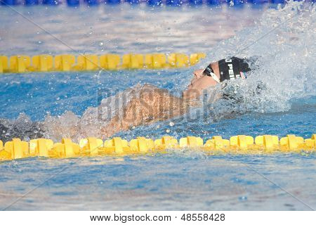 Jul 31 2009; Rome Italy; Aaron Piersol (USA) competing in the mens 200m backstroke final in a world record time of 1.51.92, at the 13th Fina World Aquatics Championships