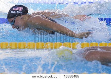 Jul 27 2009; Rome Italy; Dana Vollmer (USA) competing in the womens 100m butterfly final at the 13th Fina World Aquatics Championships held in the The Foro Italico Swimming Complex.