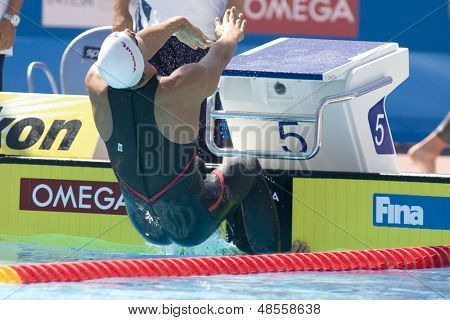 Jul 27 2009; Rome Italy; Matthew Grevers (USA)  competing in the mens 100m backstroke at the 13th Fina World Aquatics Championships held in the The Foro Italico Swimming Complex.