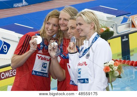 Jul 26 2009; Rome Italy; Team Germany silver medalists at the 4 x 100m freestyle event at the 13th Fina World Aquatics Championships held in the The Foro Italico Swimming Complex.