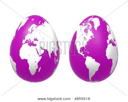 Two 3D Eggs World In Violet