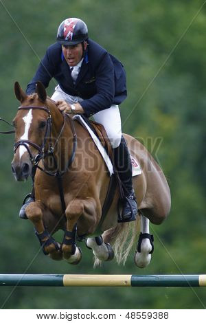 25/06/2011 HICKSTEAD ENGLAND, BILLY ANGELO ridden by William  Funnell (GBR) competing in the Falcon Equine Feeds Derby Trophy at the Hickstead Equestrian meeting held at Hickstead West Sussex England