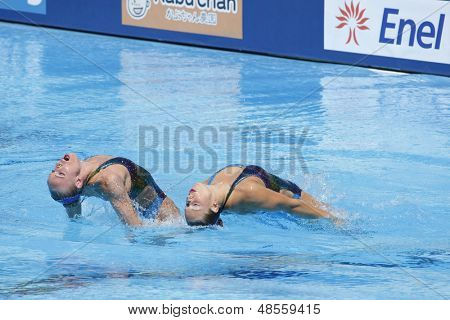 Jul 24 2009; Rome Italy; Sona Bernardova and Alzbeta Dufkova (CZE) competing in the synchronised swimming at the 13th Fina World Aquatics Championships held in the The Foro Italico Swimming Complex.