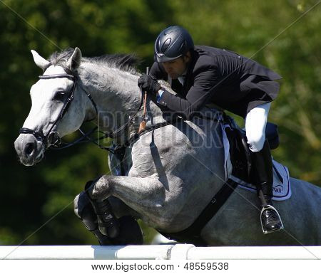 26/06/2011 HICKSTEAD ENGLAND, CASANOVA ridden by Matthias  Granzow (GER) owned by Mario Bohn (GER)  competing in the Carpetright Derby,