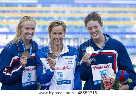 Jul 29 2009; Rome Italy; Dana Vollmer (USA) left, Federica Pellegrini (ITA) centre, and Allison Schmitt (USA) show their medals for the 200m freestyle at the 13th Fina World Aquatics Championships