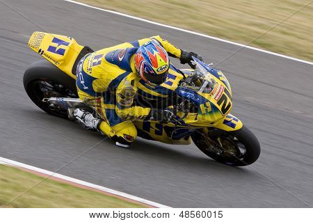 26 Sept 2009; Silverstone England: Rider number 21 Tom Tunstall GBR riding for Hardinge Doodson Motorsport  during the free practice session of the British Superbike Championship: