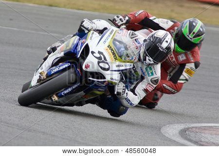 26 Sept 2009; Silverstone England: Rider number 50 Sylvain Guintoli FRA Rider number 6 Tristan Palmer GBR during the free practice session of the British Superbike Championship: