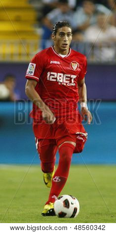MALAGA, SPAIN. 19/09/2010. Mart�?�?�?�­n Caceres a Sevilla defender in action during the La Liga match between CF Malaga and Sevilla, played in the La Rosaleda Stadium