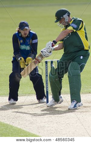 May 03 2009; Southampton Hampshire, H Dippenaar   batting and T Burrows  competing in Friends Provident trophy 1 day cricket match between Hampshire and Leicestershire played at the Rose Bowl.