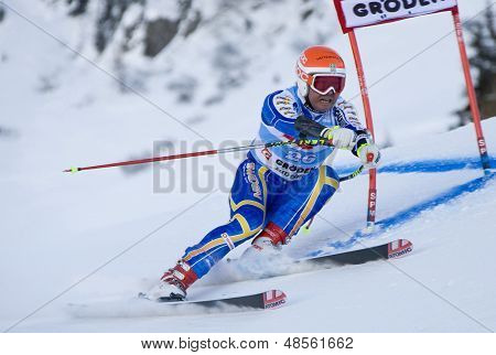 VAL GARDENA, ITALY 18 December 2009. Patrik Jaerbyn (SWE)  competing in the Audi FIS Alpine Skiing World Cup Super-G race on the Saslong course in the Dolomite mountain range.