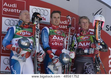 SOELDEN AUSTRIA OCT 26,  The top 3 Ligety, Cuche and Albrecht in the mens giant slalom race at the Rettenbach Glacier Soelden Austria, the opening race of the 2008/09 Audi FIS Alpine Ski World Cup