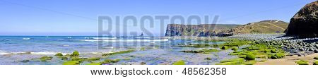 Panorama from rocks and ocean at the westcoast in Portugal